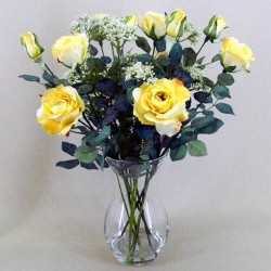 Rose and Queen Anne's Lace Clearwater Vase Arrangement Lemon - ROS003 1A