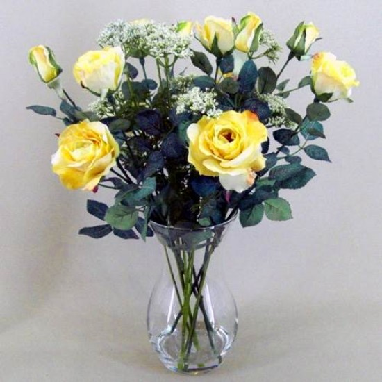 Rose and Queen Anne's Lace Clearwater Vase Arrangement Lemon - ROS003 7B