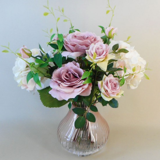 Centerpiece Arrangement | Roses and Hydrangeas in Pink Crackle Glass Vase - ROS080 7