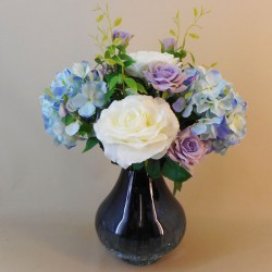 Centerpiece Arrangement | Roses and Hydrangeas in Blue Crackle Glass Vase - ROS081 7