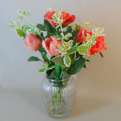 Artificial Flower Arrangements | Coral Roses and Tulips - ROS011 1C