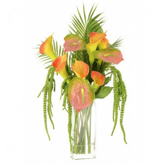 Statement Artificial Flower Arrangements | Calla Lilies and Anthuriums Multi  - CLV016 4C