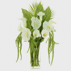Statement Artificial Flower Arrangements | Calla Lilies and Anthuriums White  - CLV017