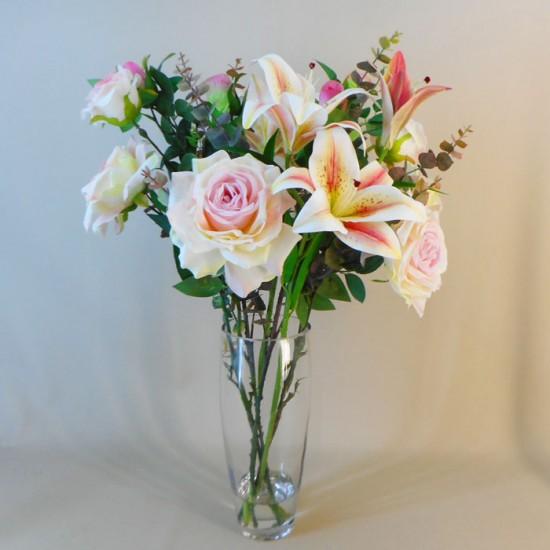 Statement Artificial Flower Arrangement | Lilies and Roses Pink - LIL017 FR