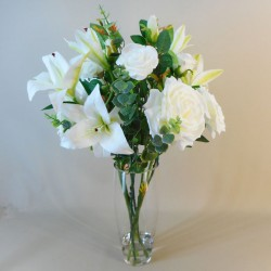 Statement Artificial Flower Arrangement | Lilies and Roses White - LIL018 FR