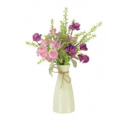 Artificial Sweet Peas and Thyme in Ceramic Vase - SPV006 6E