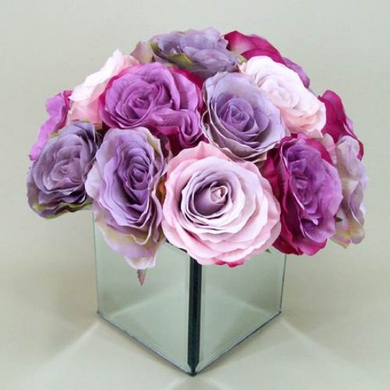 Vintage Rose Mirror Cube Arrangement Pink & Vintage Lilac | Hand Made to Order - RMC001