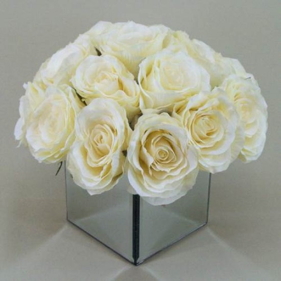 Vintage Rose Mirror Cube Arrangement Cream | Hand Made to Order - RMC002 7A