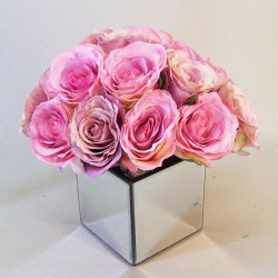 Vintage Rose Mirror Cube Arrangement Pink | Hand Made to Order - RMC004 4B