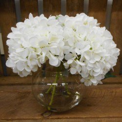 Centerpiece Arrangement | White Artificial Hydrangeas in Fish Bowl - HYD009 6B