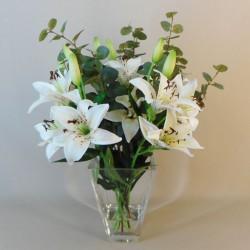 Centrepiece Arrangement | White Artificial Lilies in Square Vase - LIL030