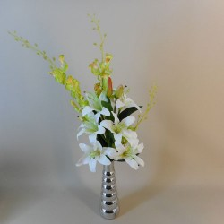 Artificial Flower Arrangements | White Lilies and Orchids - LIL020 5A