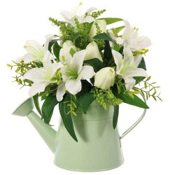 White Lilies and Tulips in Green Watering Can | Artificial Flower Arrangements - LIL025 6A