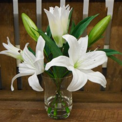Accent Arrangement | White Artificial Lilies in Urn Vase - LIL002 6B