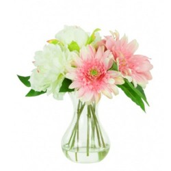 Artificial Flower Arrangement | White Peony and Pink Gerbera - PEO002 3C