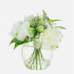 Artificial Flower Arrangements | White Peonies and Thistles - PEO001 7A