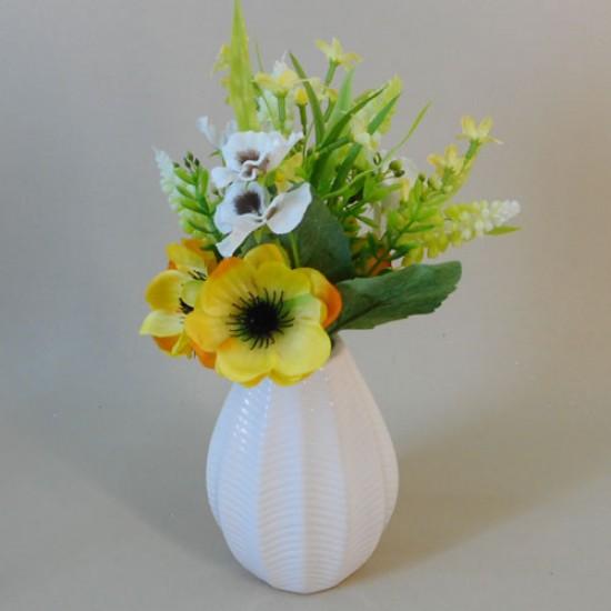 Artificial Flower Arrangements Yellow Anemones and Muscari - AV006 5C