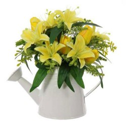 Yellow Lilies and Tulips in White Watering Can | Artificial Flower Arrangements - LIL026 6A