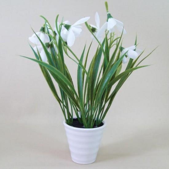 Artificial Snowdrops in White Ceramic Pot Mini - SNO002 2C