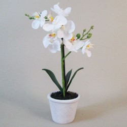 Mini Artificial Phalaenopsis Orchid Plant in White Pot - ORP048 2B