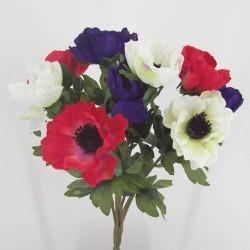 Silk Anemone Posy Red White Purple - A006 C3