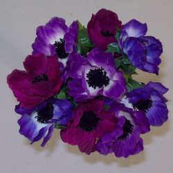 Silk Anemones Posy Purple and Plum - A085 B4