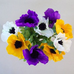 Silk Anemones Posy Purple Yellow and White - A086 B4