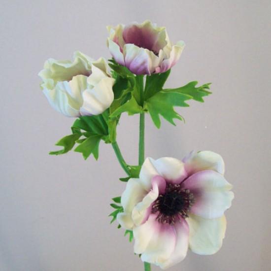 Artificial Anemones Aubergine Cream - A122 B2