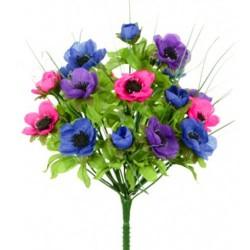 Artificial Anemones Bush Pink Blue Purple Flowers - A098 LL3