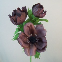 Artificial Anemones Chocolate Brown - A128 LL2