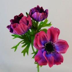 Artificial Anemones Purple Flowers - A091 A2