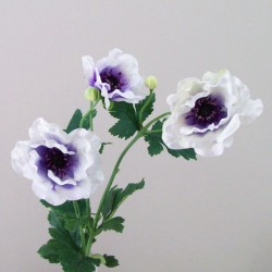 Luxury Artificial Anemones White and Purple Flowers - A083 LL2
