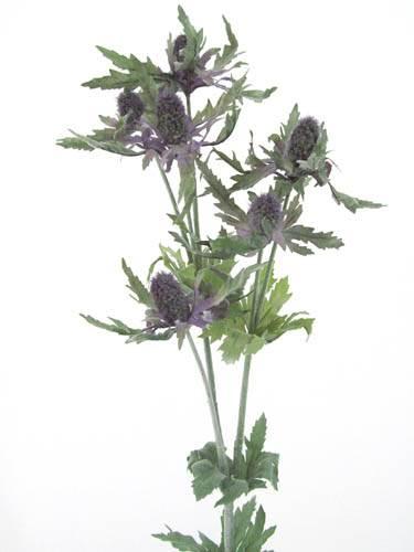 Eryngium Thistle /'Purple//Green/' 67cm Pack 6 Stems Artificial Silk Flowers