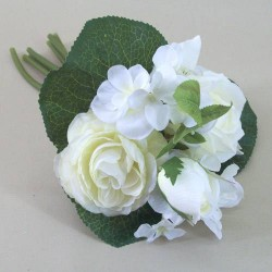 Artificial Hydrangea, Roses and Ranunculus Posy Cream - H055 F4