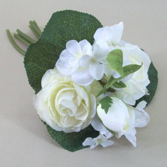 Artificial Hydrangea, Roses and Ranunculus Posy Cream - H055 BX3