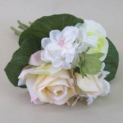 Artificial Hydrangea, Roses and Ranunculus Posy Peach - H056 F4