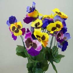 Artificial Pansies Bush Yellow Mauve and Purple Large - P030 J2