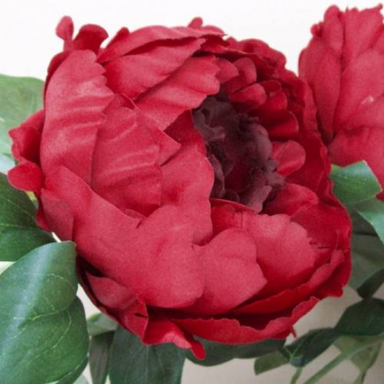 Bunch of Artificial Peony Flowers Red - P103 L4
