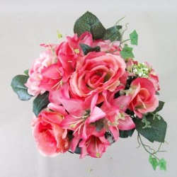 Artificial Flowers Posy Roses Lilies and Hydrangeas Coral Pink - R171 N3