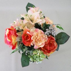 Artificial Flowers Posy Roses Lilies and Hydrangeas Orange Peach - R188 N3