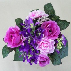 Artificial Flowers Posy Roses Lilies and Hydrangeas Purple Pink - R167 N3