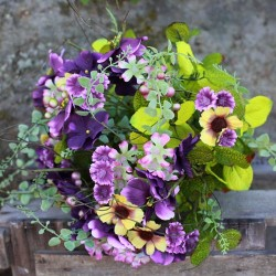 Artificial Meadow Flowers Bouquet Purple and Yellow - MF244-xlbq J3