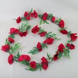 Silk Poppy Garland Red 184cm - P116