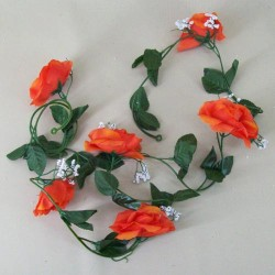 Artificial Roses Garland Carnival Orange - R228 Q4