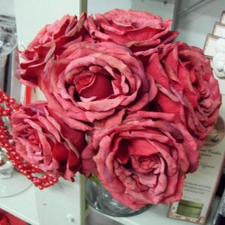 Artificial Roses Posy Vintage Red - R112 P2