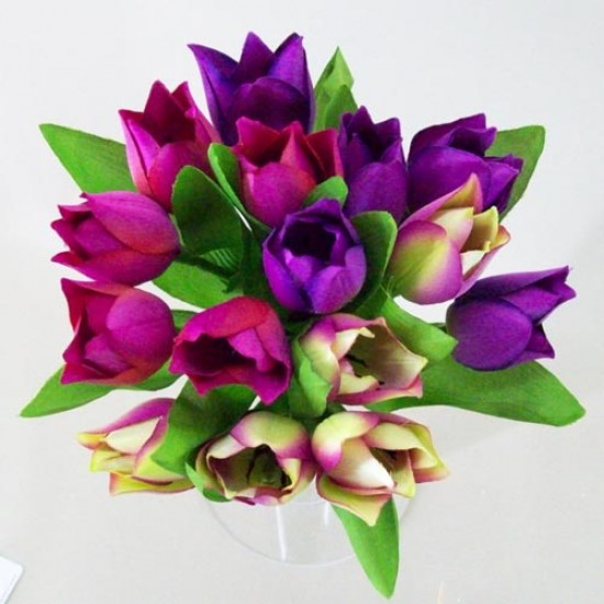 Artificial Tulips Bundle Purple Pink Green - T037 R2