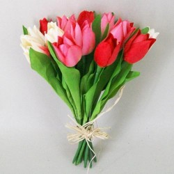 Artificial Tulips Bundle Red Pink Cream - T035
