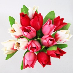 Artificial Tulips Bundle Red Pink Cream - T035 R2