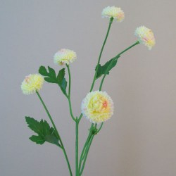Artificial Button Asters Lemon - A114