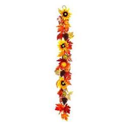 Artificial Sunflowers and Pumpkins Autumn Garland 150cm - AUT010